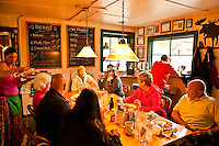 Diners enjoy a hearty breakfast at the Roadjouse, Talkeetna, AK, Alaska, USA