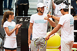 Mariam Hernandez, Feliciano Lopez and Rafa Nadal during the Charity Day of the Mutua Madrid Open at Caja Magica in Madrid. April 29, 2016. (ALTERPHOTOS/Borja B.Hojas)