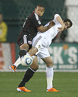 Ethan White (15) of D.C. United pokes the ball away from Juan Pablo Angel (9) of the Los Angeles Galaxy during an MLS match at RFK Stadium, on April 9 2011, in Washington D.C. The game ended in a 1-1 tie.