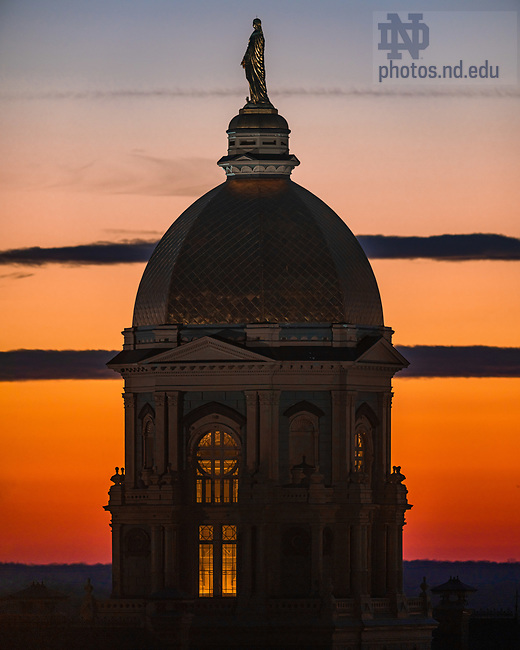 December 22, 2020; Main Building at sunset (Photo by Matt Cashore/University of Notre Dame)