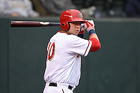 Harrisburg Senators first baseman Matt Skole (10) on deck during a game against the New Britain Rock Cats on April 28, 2014 at Metro Bank Park in Harrisburg, Pennsylvania.  Harrisburg defeated New Britain 9-0.  (Mike Janes/Four Seam Images)