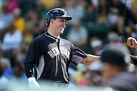 New York Yankees outfielder Tyler Austin (79) is congratulated after hitting a home run during a Spring Training game against the Pittsburgh Pirates on March 5, 2015 at McKechnie Field in Bradenton, Florida.  New York defeated Pittsburgh 2-1.  (Mike Janes/Four Seam Images)