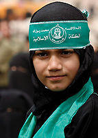 """Gaza.April.25.2008.Hamas girl  supporters take part in aprotest calling reopen Rafah crossing border ,newr the Egyption border with gaza strip april 25,2008 Eypt sent hundreds of police officer to the sealed Rafah border crossing with gaza stripto boost security and prevent ant attempt by palestinian to breach the frontier security sources.""""photo by Fady Adwan"""""""