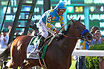 June 6, 2015: American Pharoah, Victor Espinoza up, wins the 147th running of the Grade I Belmont Stakes, becoming the 12th horse–and the first since 1978–to win the Triple Crown. Belmont Park, Elmont, NY.  Joan Fairman Kanes/ESW/CSM