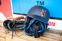 Indianapolis Indians helmet at Victory Field on May 14, 2019 in Indianapolis, Indiana. The Indians defeated the RailRiders 4-2. (Andrew Woolley/Four Seam Images)