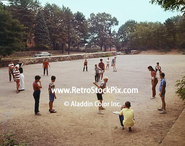 St. John Villa Academy. Children playing baseball. 1959.
