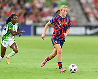 AUSTIN, TX - JUNE 16: Lindsey Horan #9 of the United States brings the ball up the field during a game between Nigeria and USWNT at Q2 Stadium on June 16, 2021 in Austin, Texas.