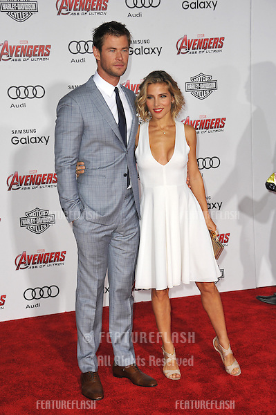 """Chris Hemsworth & wife Elsa Pataky at the world premiere of his movie """"Avengers: Age of Ultron"""" at the Dolby Theatre, Hollywood.<br /> April 13, 2015  Los Angeles, CA<br /> Picture: Paul Smith / Featureflash"""