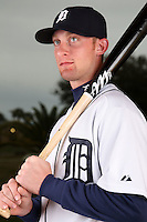 February 27, 2010:  Catcher Eric Roof (75) of the Detroit Tigers poses for a photo during media day at Joker Marchant Stadium in Lakeland, FL.  Photo By Mike Janes/Four Seam Images