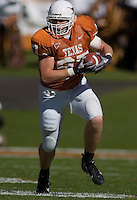 24 November 2006: Texas tight end Neale Tweedie runs with the ball during the Longhorns game against the Texas A&M University Aggies at the Darrell K Royal Memorial Field in Austin, TX.