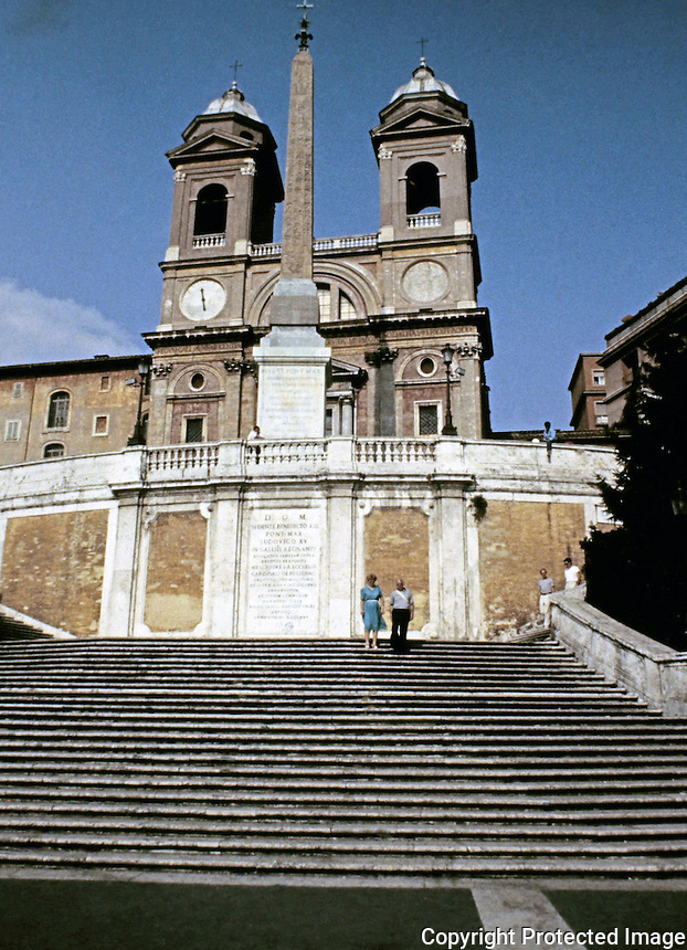 The Spanish Steps  are a set of 135 steps in Rome, Italy with the Piazza di Spagna at the base and Trinità dei Monti church at the top. Architects Francesco de Sanctis and Alessandro Specchi, 1723-25.