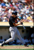 OAKLAND, CA:  Cal Ripken Jr. of the Baltimore Orioles bats during a game against the Oakland Athletics at the Oakland Coliseum in Oakland, California on August 20, 1995. (Photo by Brad Mangin)