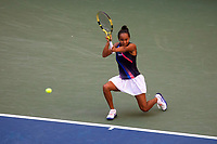 210908 -- NEW YORK, Sept. 8, 2021 -- Leylah Fernandez of Canada returns against Elina Svitolina of Ukraine during their women s singles quarterfinals of the 2021 US Open in Arthur Ashe Stadium at the USTA Billie Jean King National Tennis Center in New York, the United States on Sept. 7, 2021. Photo by /Xinhua SPU.S.-NEW YORK-TENNIS-US OPEN-DAY 9-WOMEN S SINGLES MichaelxNagle
