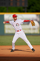 Greeneville Reds third baseman Claudio Finol (4) throws to first base during a game against the Pulaski Yankees on July 27, 2018 at Pioneer Park in Tusculum, Tennessee.  Greeneville defeated Pulaski 3-2.  (Mike Janes/Four Seam Images)