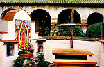 Temporary alter outside Mission San Miguel, Paso Robles, CA after earthquake damaged the mission