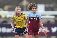Leah Williamson of Arsenal and Martha Thomas of West Ham during West Ham United Women vs Arsenal Women, Women's FA Cup Football at Rush Green Stadium on 26th January 2020