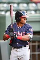 Justin Dean (14) of the Rome Braves, a 2018 Braves draft pick from Lenoir-Rhyne, in Game 2 of a doubleheader against the Greenville Drive on Friday, August 3, 2018, at Fluor Field at the West End in Greenville, South Carolina. Rome won, 6-3 (Tom Priddy/Four Seam Images)