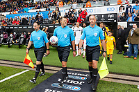Referee James Linington (C) with assistants exit the tunnel during the Sky Bet Championship match between Swansea City and Preston North End at the Liberty Stadium, Swansea, Wales, UK. Saturday 11 August 2018