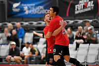 Keveny De Castro Paiva Bra of Canterbury celebrates a goal during the Men's Futsal SuperLeague, Canterbury United Futsal Dragons v Capital Futsal at ASB Sports Centre, Wellington on Saturday 31 October 2020.<br /> Copyright photo: Masanori Udagawa /  www.photosp ort.nz