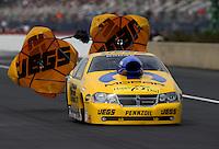 Mar. 17, 2013; Gainesville, FL, USA; NHRA pro stock driver Jeg Coughlin Jr during the Gatornationals at Auto-Plus Raceway at Gainesville. Mandatory Credit: Mark J. Rebilas-