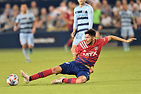 KANSAS CITY, KS - JULY 31: Ricardo Pepi #16 FC Dallas stretches for the ball during a game between FC Dallas and Sporting Kansas City at Children's Mercy Park on July 31, 2021 in Kansas City, Kansas.