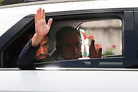 The new trainer of AS Roma Jose' Mourinho leaves the Campidoglio after his presentation and waves at the supporters waiting outside.<br /> Rome (Italy), July 8th 2021<br /> Photo Samantha Zucchi Insidefoto