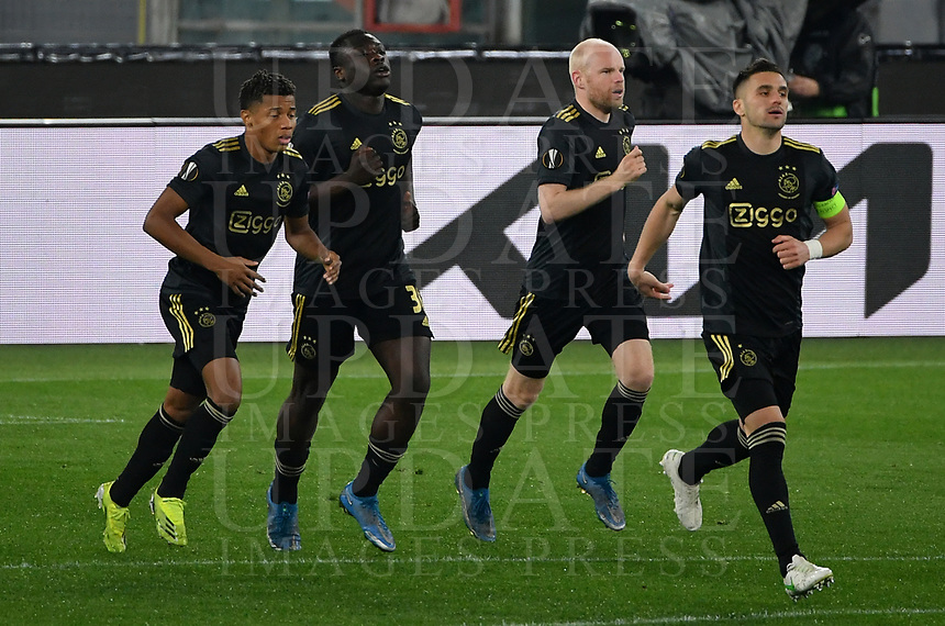 Football: Europa League - quarter final 2nd leg AS Roma vs Ajax, Olympic Stadium. Rome, Italy, March 15, 2021.<br /> Ajax's Bryan Brobbey (second R) celebrates after scoring with his teammates during the Europa League football match between Roma at Rome's Olympic stadium, Rome, on April 15, 2021.  <br /> UPDATE IMAGES PRESS/Isabella Bonotto