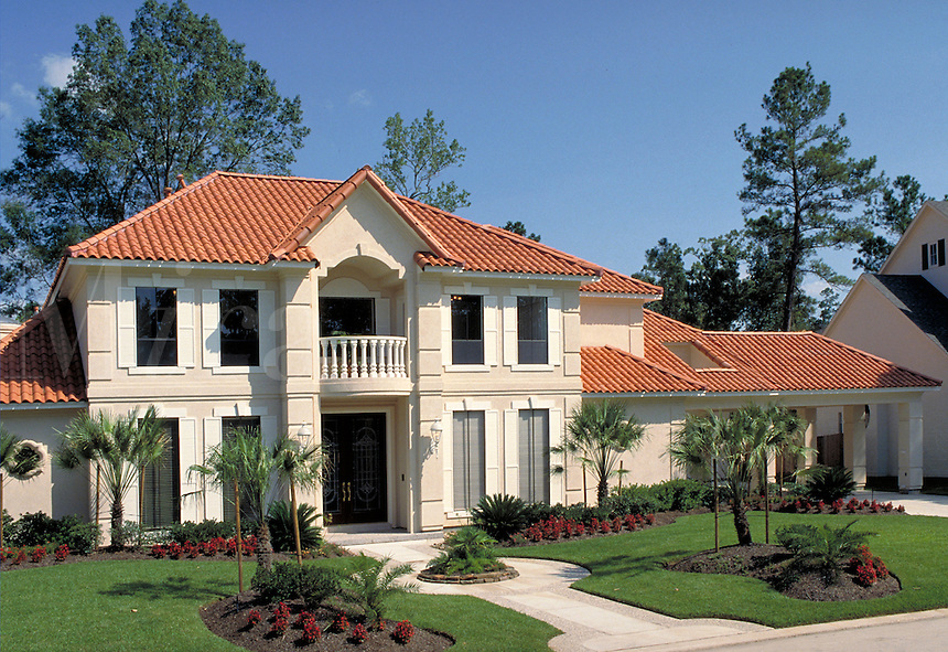 Upper income home, red tile roof. Houston Texas.