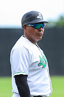 Clinton LumberKings hitting coach Jose Umbria (1) during a Midwest League game against the Lansing Lugnuts on July 15, 2018 at Ashford University Field in Clinton, Iowa. Clinton defeated Lansing 6-2. (Brad Krause/Four Seam Images)