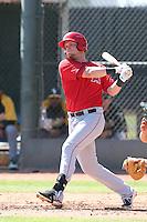 Michael Snyder #35 of the Los Angeles Angels bats during a Minor League Spring Training Game against the Oakland Athletics at the Los Angeles Angels Spring Training Complex on March 17, 2014 in Tempe, Arizona. (Larry Goren/Four Seam Images)
