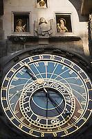 Europe/République Tchèque/Prague : Horloge astronomique de l'Hotel de Ville de la Viellle Ville réalisée par  Milukas de Kadan