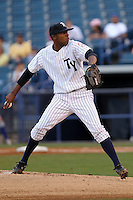 April 17, 2010: Pitcher Jairo Heredia of the Tampa Yankees delivers a pitch during a game at George M Steinbrenner Field in Tampa, FL. Tampa is the Florida State League High Class-A affiliate of the New York Yankees. Photo By Mark LoMoglio/Four Seam Images