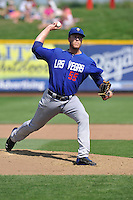 Noah Snydergaard #55 of the Las Vegas 51s throws against the Omaha Storm Chasers at Werner Park on August 17, 2014 in Omaha, Nebraska. The Storm Chasers  won 4-0.   (Dennis Hubbard/Four Seam Images)
