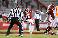Arkansas running back Rakeem Boyd (5) carries the ball, Saturday, November 7, 2020 during the second quarter of a football game at Donald W. Reynolds Razorback Stadium in Fayetteville. Check out nwaonline.com/201108Daily/ for today's photo gallery. <br /> (NWA Democrat-Gazette/Charlie Kaijo)