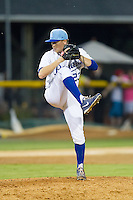 Burlington Royals relief pitcher Ian Tompkins (23) in action against the Princeton Rays at Burlington Athletic Park on July 11, 2014 in Burlington, North Carolina.  The Rays defeated the Royals 5-3.  (Brian Westerholt/Four Seam Images)