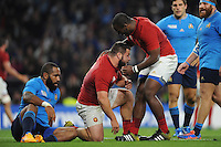 Rabah Slimani of France is congratulated by Eddy Ben Arous of France after scoring a try a try from Frédéric Michalak of France's chip during Match 5 of the Rugby World Cup 2015 between France and Italy - 19/09/2015 - Twickenham Stadium, London <br /> Mandatory Credit: Rob Munro/Stewart Communications