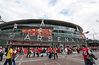 Pictured: Exterior view of the Emirates Stadium, home ground for Arsenal. Saturday 10 September 2011<br /> Re: Premiership Arsenal v Swansea City FC at the Emirates Stadium, London.