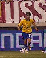 Brazil forward Alexandre Pato (9) dribbles. Brazil  defeated the US men's national team, 2-0, in a friendly at Meadowlands Stadium on August 10, 2010.