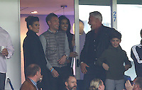 Jamie Vardy, his fiancee Rebekah Nicholson and Rita Mahrez, the wife of Riyad share a joke with Wayne Lineker during the Barclays Premier League match between Leicester City and Swansea City played at The King Power Stadium, Leicester on 24th April 2016