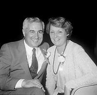 Le maire de la ville de  Quebec Jean Pelletier et son epouse Helene Bherer<br /> <br /> (date inconnue, avant 1984).<br /> <br /> Il fut Maire de Québec, de 1977 à 1989 et decede en 2009.<br /> <br /> Photo : Agence Quebec Presse - Roland Lachance