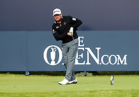 180719 | The 148th Open - Day 1<br /> <br /> Graeme McDowell of Northern Ireland on the 1st keeps a watchful eye on shot during the 148th Open Championship at Royal Portrush Golf Club, County Antrim, Northern Ireland. Photo by John Dickson - DICKSONDIGITAL