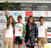 Francesco Lasca (Caja Rural) celebrates the third place in the first stage of the Castilla and Leon 2013 Cycling Tour. The first stage of the 28th tour took place from Arevalo (Avila) to Valladolid. April 12, 2013. Valladolid, Spain. (Alterphotos/Victor J Blanco) /NortePhoto