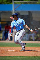 Tampa Bay Rays Kaleo Johnson (83) bats during a Minor League Spring Training game against the Boston Red Sox on March 25, 2019 at the Charlotte County Sports Complex in Port Charlotte, Florida.  (Mike Janes/Four Seam Images)