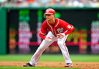 5 July 2009: Washington Nationals' starting pitcher Scott Olsen takes a lead off first during a game against the Atlanta Braves at Nationals Park in Washington, DC. Olsen came within one out of his first career complete game as he helped the Nationals defeat the Braves 5-3 to take the rubber game of their 3-game weekend series. Mandatory Credit: Ed Wolfstein Photo