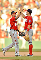 9 June 2012: Washington Nationals outfielder Rick Ankiel (24) gets high fives from teammates after the game against the Boston Red Sox at Fenway Park in Boston, MA. The Nationals defeated the Red Sox 4-2 in the second game of their 3-game series. Mandatory Credit: Ed Wolfstein Photo
