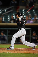 Visalia Rawhide third baseman Drew Ellis (10) hits a home run during a California League game against the Lancaster JetHawks at The Hangar on May 17, 2018 in Lancaster, California. Lancaster defeated Visalia 11-9. (Zachary Lucy/Four Seam Images)