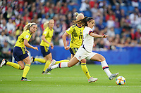 LE HAVRE, FRANCE - JUNE 20: Alex Morgan #13 during a 2019 FIFA Women's World Cup France group F match between the United States and Sweden at Stade Océane on June 20, 2019 in Le Havre, France.