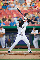 Kane County Cougars designated hitter Luis Lara (8) at bat during a game against the South Bend Cubs on July 23, 2018 at Northwestern Medicine Field in Geneva, Illinois.  Kane County defeated South Bend 8-5.  (Mike Janes/Four Seam Images)