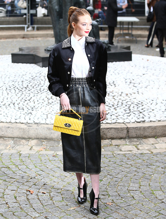 Larsen Thompson arrival at the Miu Miu Fashion Show during the Paris Fashion Week Women's wear Spring Summer 2019, in Paris, France, on October 2, 2018.