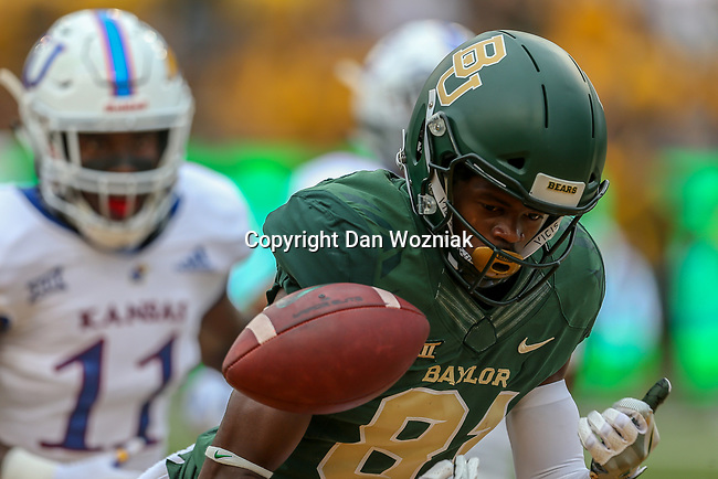Baylor Bears wide receiver Tyquan Thornton (81) in action during the game between the Kansas Jayhawks and the Baylor Bears at the McLane Stadium in Waco, Texas.